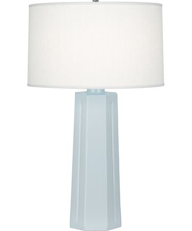 Shown in Polished Nickel-Baby Blue finish and Oyster Linen shade
