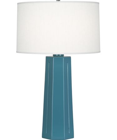 Shown in Polished Nickel-Steel Blue finish and Oyster Linen shade