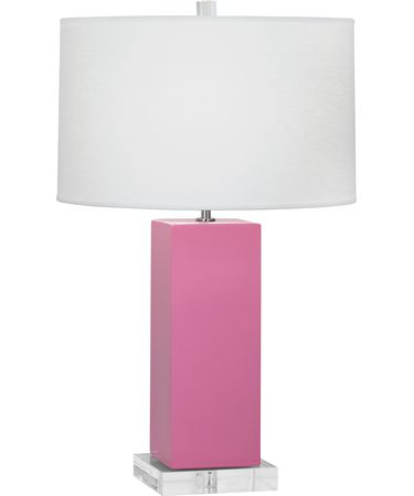 Shown in Polished Nickel-Schiaparelli Pink finish and Oyster Linen shade