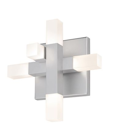 Shown in Bright Satin Aluminum finish and White Etched glass