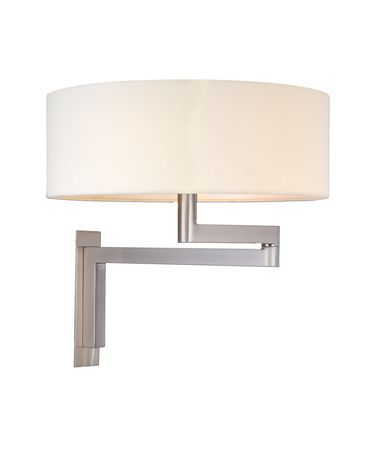 Shown in Satin Nickel finish and Off White Fabric Linen shade