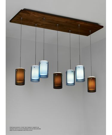 Shown in Walnut finish with Echo Mini Pendants