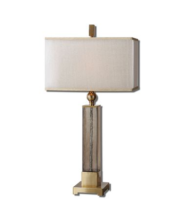 Shown in Brushed Brass finish and Warm Champagne shade