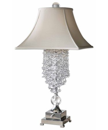 Shown in Silver Plated finish, Clear crystal and Champagne Fabric shade