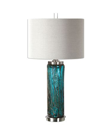Shown in Plated Brushed Nickel finish, Blue glass and Light Beige Linen shade