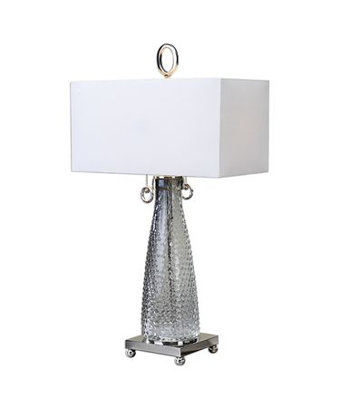 Shown in Polished Nickel finish and White Linen Fabric shade