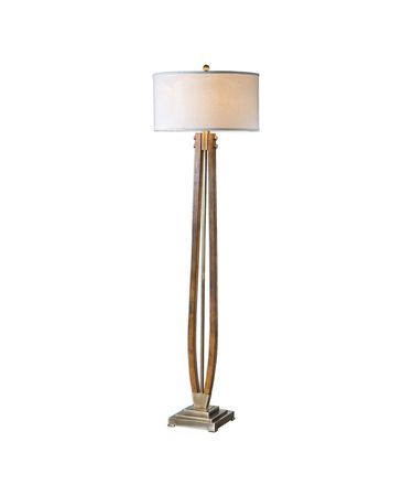 Shown in Burnished Honey Stain-Brushed Coffee Bronze finish and Light Beige Linen Fabric shade