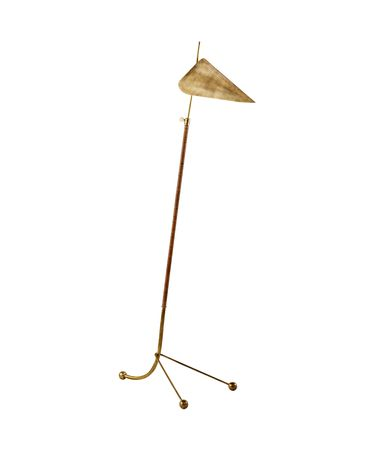 Shown in Hand-Rubbed Antique Brass finish and Antique Brass shade