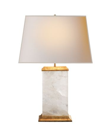 Shown in Natural Quartz Stone finish and Natural Paper Rectangle shade