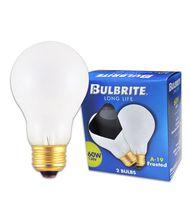 Bulbrite 60A 60 Watt 130 Volt Frost A19 Bulb - 2 Pack