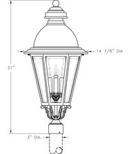Hanover Lantern B51630A South Bend Large 4 Light Outdoor Post Lamp