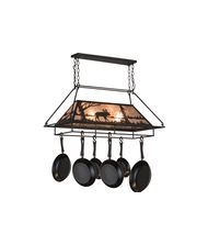 Meyda Lighting 73371 Moose at Lake 40 Inch Lighted Pot Rack